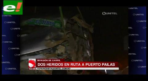 Choque en carretera a Puerto Pailas deja dos heridos