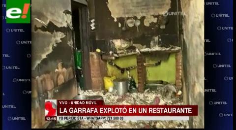Garrafa estalló en un restaurante de comida internacional
