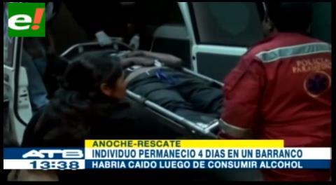 Hombre fue rescatado después de permanecer 4 días en un barranco