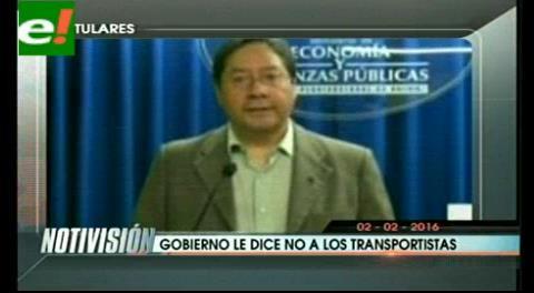 """Titulares de TV: Gobierno le dice """"No"""" a los transportistas"""