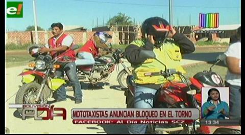 Mototaxistas anuncian bloqueo en El Torno