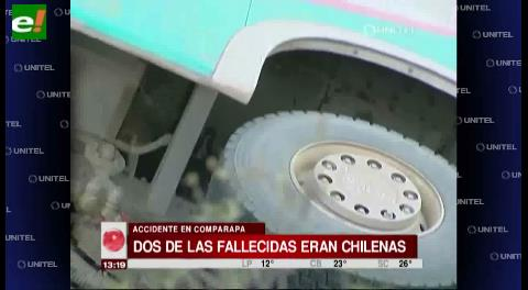Dos fallecidas en accidente de Comarapa son procedentes de Chile