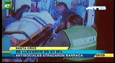 Antisociales atracaron una barraca y se llevaron 50 mil bolivianos