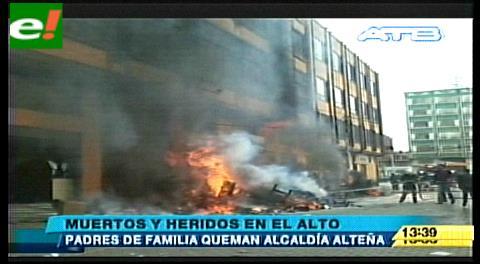 Confirman seis fallecidos por intoxicación tras quema de Alcaldía de El Alto