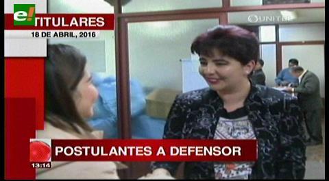 """Titulares de TV: Postulantes a Defensor.""""Hoy a las 6 de la tarde vence el plazo para entregar los requisitos ante la Asamblea Plurinacional"""""""