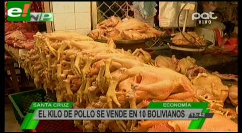 El kilo de pollo se vende en 10 bolivianos