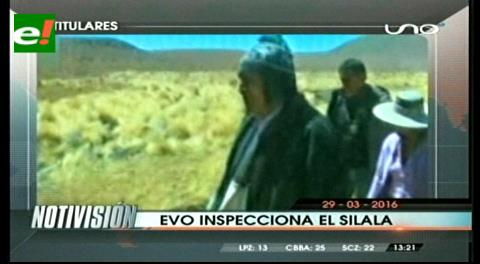Titulares de TV: Evo Morales inspecciona las aguas del Silala en Potosí