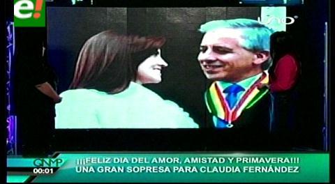 Un romántico Álvaro García Linera sorprende a su esposa