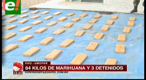 Santa Cruz. Incautan 84 kilos de marihuana y detienen a tres personas
