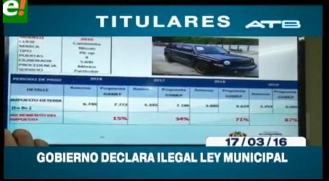 Titulares de TV: Gobierno declara ilegal la ley municipal del Impuesto a las Transferencias