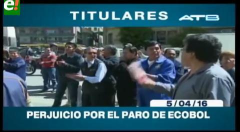 Titulares de TV: Usuarios de Ecobol protestan por el perjuicio ocasionado por el paro