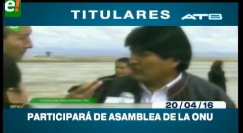Titulares de TV: Evo Morales participará de la Asamblea de la ONU