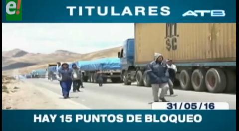 Titulares de TV: 15 puntos de bloqueo del transporte pesado en todo el país