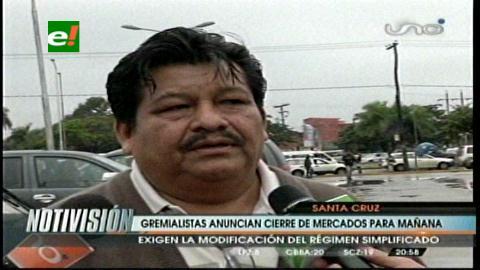 Santa Cruz: Gremiales anuncian cierre de mercados el día martes