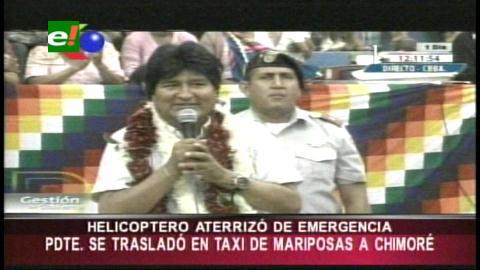 Cochabamba: Helicóptero de Evo aterriza de emergencia por percance aéreo