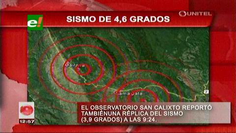 Santa Cruz: Sismo de 4,6 grados se siente en Samaipata, Vallegrande y Mairana