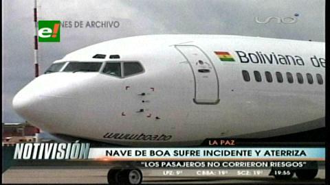 Avión de estatal BoA presenta falla y retorna dos veces a El Alto