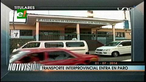 Titulares: Transporte interprovincial de Santa Cruz ratifica paro para este miércoles