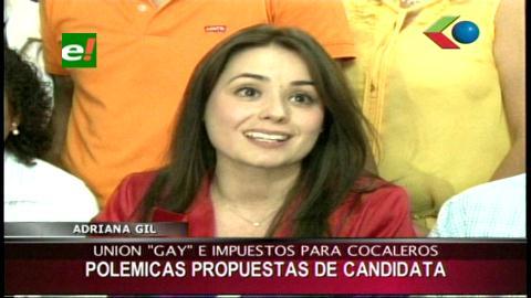 Adriana Gil apoya la unión civil de parejas gays y plantea impuesto a los cocaleros