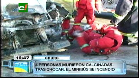 Oruro: Mueren 5 personas calcinadas en choque de 2 vehículos