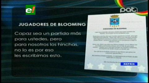 Hinchas de Blooming le mandan un mensaje de aliento a los jugadores