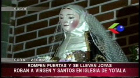 Sucre: Roban las joyas de la virgen de Santa Rosa de Yotala