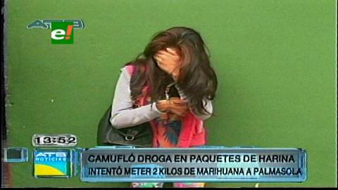 Detienen a mujer que intentó meter marihuana a Palmasola