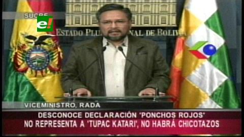 """Viceministro Rada: Dirigente de los Ponchos Rojos que amenazó con chicotazos a opositores es """"un impostor"""""""