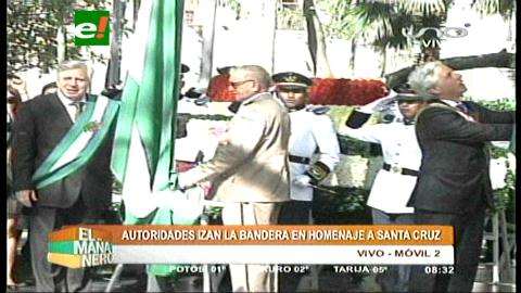 Santa Cruz: Autoridades dan inicio a festejos con iza de la bandera y entrega floral