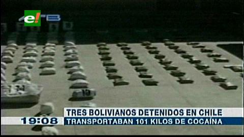 Tres bolivianos fueron detenidos con 101 kilos de pasta base en Chile