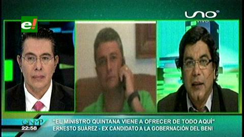 Ernesto Suárez: «El Beni le volverá a ganar al MAS y es Quintana el que se quedará como novia despechada»