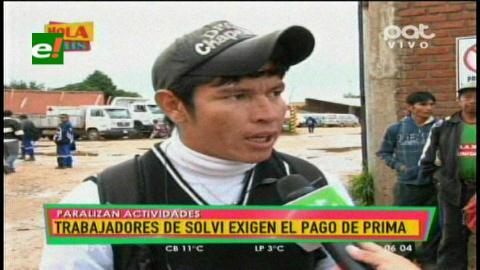 Trabajadores de Vega Solví exigen el pago de su prima
