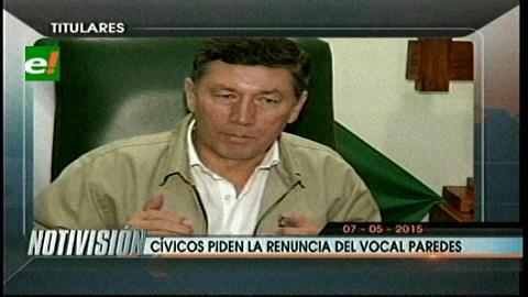 Titulares de TV: Comité Cívico Pro Santa Cruz pide la renuncia del vocal Ramiro Paredes