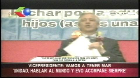 Vicepresidente de Bolivia llama a la unidad y asegura que 'vamos a tener mar'