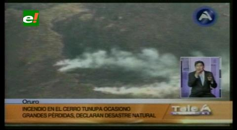 Incendio en el cerro Tunupa de Oruro afecta a 44 familias y más de 2.000 animales
