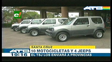 TSJ entrega motocicletas y jeeps al Tribunal de Santa Cruz