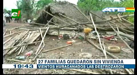 Beni: Fuertes vientos afectan 27 viviendas en el municipio de Huacaraje