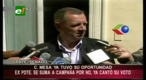 """Senador Gonzáles: """"Carlos Mesa se sumó a la campaña del NO a la reelección"""""""