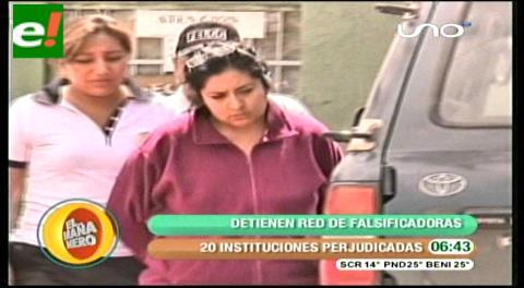 Falsificadoras van a la cárcel y 20 instituciones son víctimas en Cochabamba