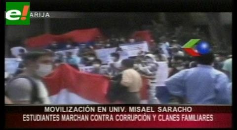 Tarija: Marcha universitaria logra mayor convocatoria, piden renuncia del Rector