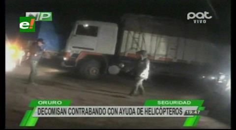 Oruro: Decomisan contrabando con ayuda de helicópteros