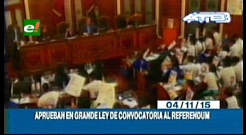 Titulares de TV: Aprueban en grande la ley de referéndum para la repostulación de Evo Morales