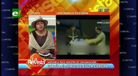Ministra de Comunicación destaca el respaldo a la demanda marítima en viaje de Morales