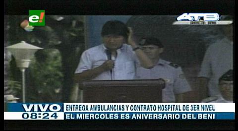 Evo entrega 34 ambulancias y firma contrato para levantar hospital de tercer nivel en Trinidad
