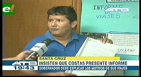 Piden al gobernador Rubén Costas dar informe oral en la ALD de Santa Cruz