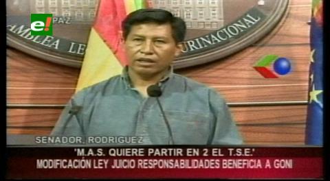 """Senador Rodríguez: """"El MAS quiere partir en dos al TSJ"""""""