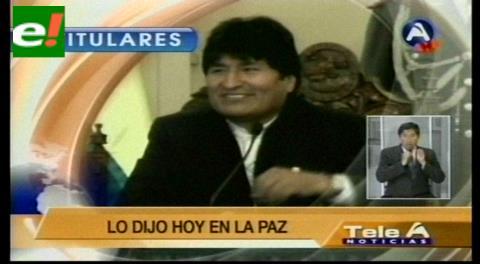 Titulares de TV: Evo reveló que después de conversar con Rubén Costas, el Gobernador nunca más protestó en su contra