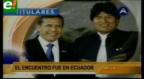 Titulares de TV: Presidentes Morales y Humala acordaron viabilizar la construcción del tren bioceánico