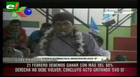 Gobernador masista pide votar Sí en entrega de obras con Evo