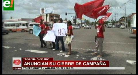 Plataforma Bolivia dice No anuncia su cierre de campaña